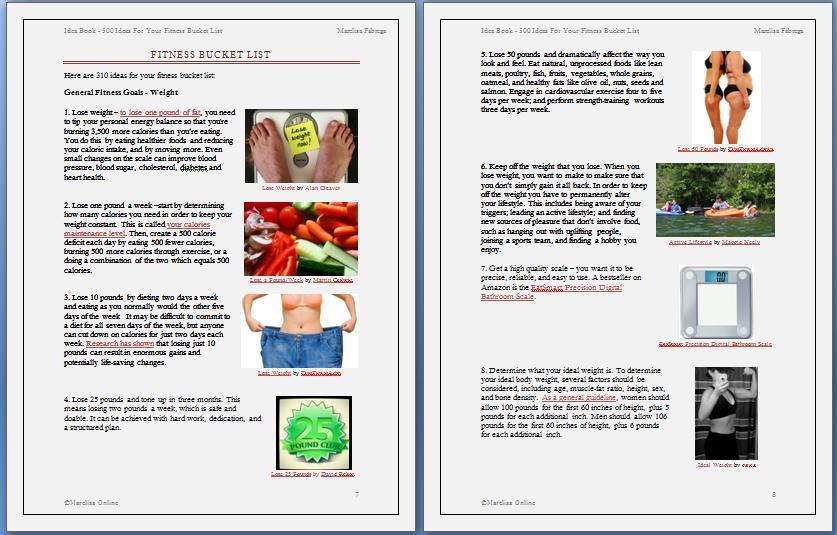 fitness bucket list sample