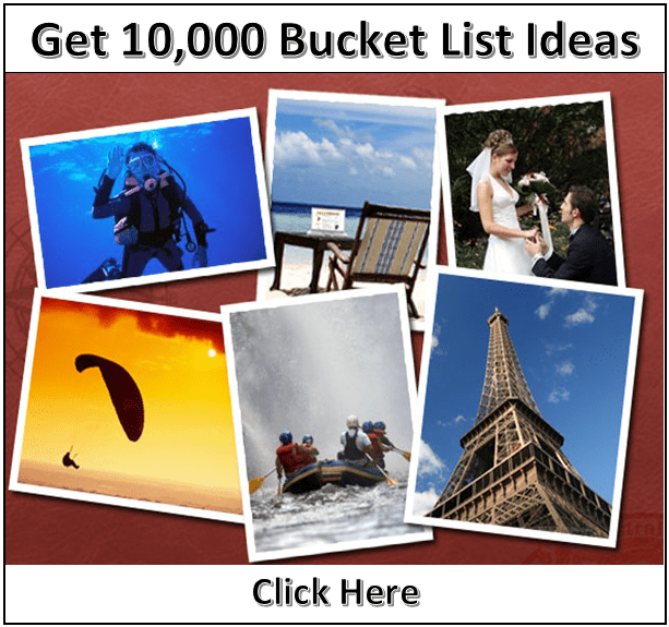 10,000 bucket list ideas banner