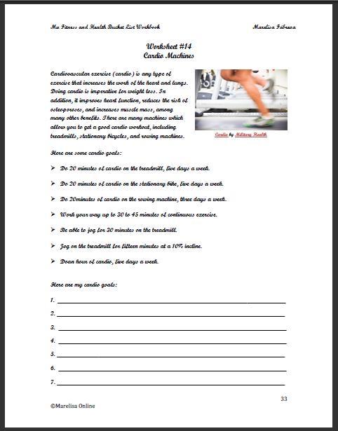 Free Worksheets esl worksheet : My Fitness and Health Bucket List Workbook - Daring to ...