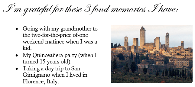 three fond memories