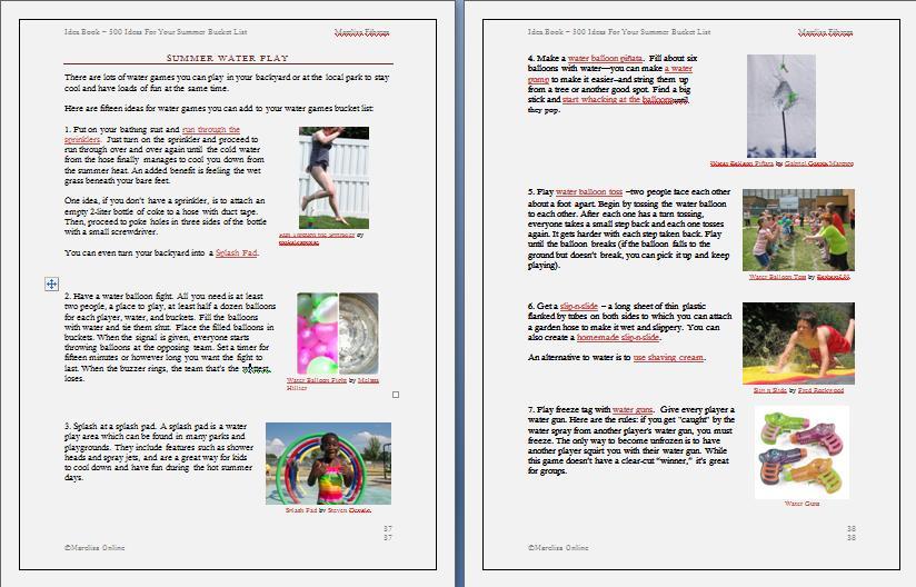 Idea Book - 500 Ideas For Your Summer Bucket List sample (2)